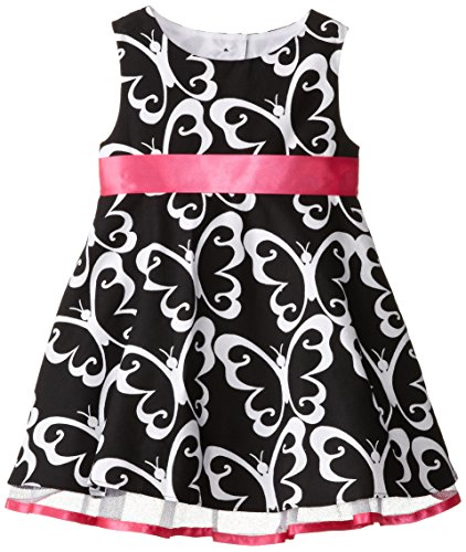 Rare Editions Little Girls' Butterfly Print Woven Dress, Black/White, (Rare Editions Butterfly Dress)