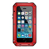 iPhone 6S Case LIGHTDESIRE Aluminum Alloy Protective Metal Extreme Water Resistant Shockproof Military Bumper Heavy Duty Cover Shell for iPhone 6/6s - Red