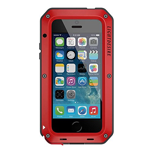 iPhone 5SE Case LIGHTDESIRE [Newest] Aluminum Alloy Protective Metal Extreme Water Resistant Shockproof Military Bumper Heavy Duty Cover Shell for iPhone 5S/SE/5 - Red