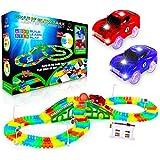USA Toyz Glow Race Tracks for Boys and Girls - 360pk STEM Building Glow in The Dark Flexible Rainbow Race Track Set w/ 2 Light Up Toy Cars