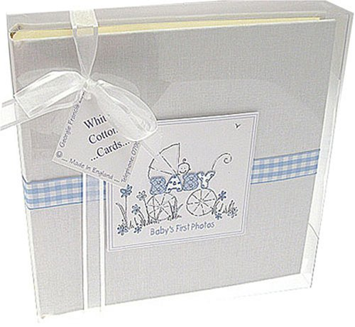 White Cotton Cards - Álbum de fotos infantil con cenefa azul PB1M