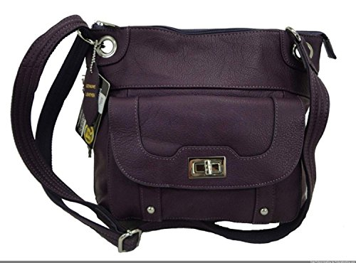 Concealed Carry Cross Body Leather Gun Purse with Slash Resistant Strap, Purple