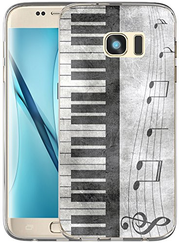Case for S7 Edge Music/ IWONE Non Slip Durable Compatible Transparent Cover Shockproof Replacement For Samsung Galaxy S7 + Retro Musical Piano Music Note (Edge Music)