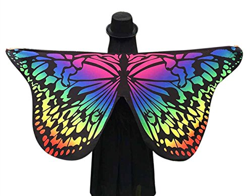 Music Festival Costumes (Butterfly Shawl, Soft Fabric Butterfly Wings Party Costume Fairy Ladies Nymph Pixie Costume Accessory by BSGSH (Multicolor))