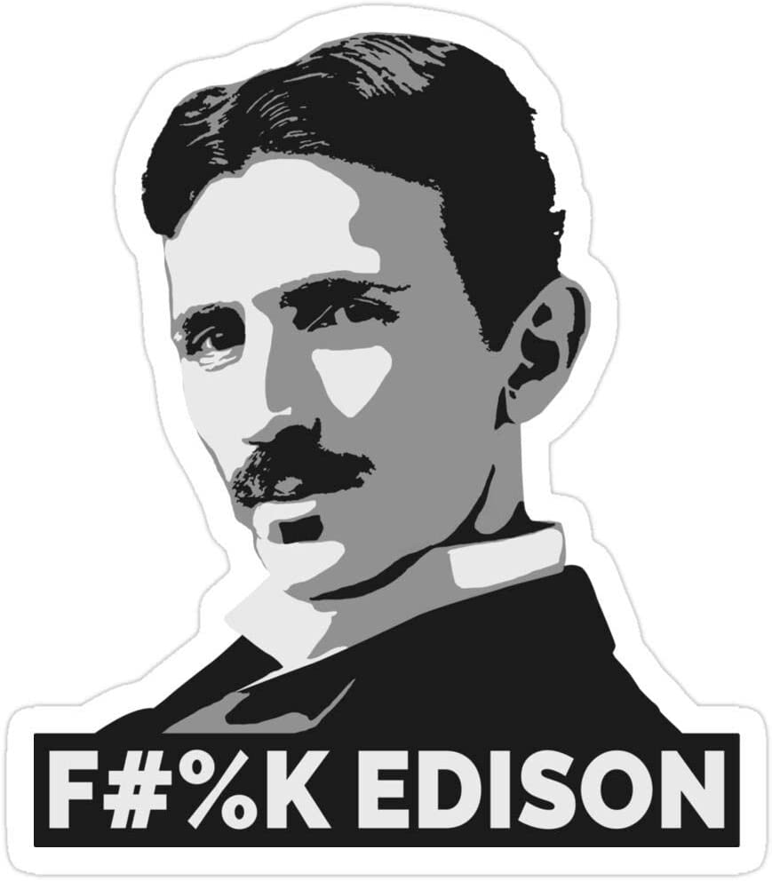 Jess-Sha Store 3 PCs Stickers Nikola Tesla (is a Boss), Nikola Tesla Sticker for Laptop, Phone, Cars, Vinyl Funny Stickers Decal for Laptops, Guitar, Fridge