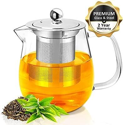 RayPard Tetera de cristal de 700 ml con infusor por microondas y apta para estufa, colador de té para té suelto y té flotante.