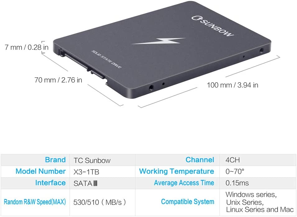 TCSUNBOW 1TB 2.5 pulgadas SSD SATAIII 6GB / s Hasta 560MB / s Con ...