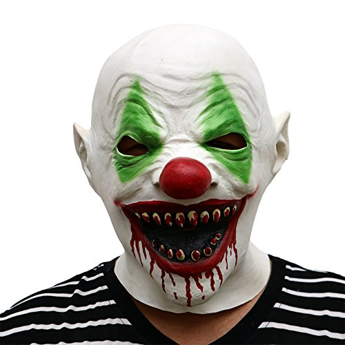 Novelty Halloween Costume Party Latex Head Mask Cry Face Red-Eyed Clown 3/4 Mask (Scary (Really Scary Clowns)