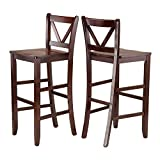 Winsome Victor 2-Piece V-Back Bar Stools, 29-Inch, Brown