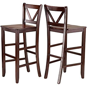 Winsome Victor 2-Piece V-Back Bar Stools 29-Inch Brown  sc 1 st  Amazon.com : 29 inch bar stools with back - islam-shia.org