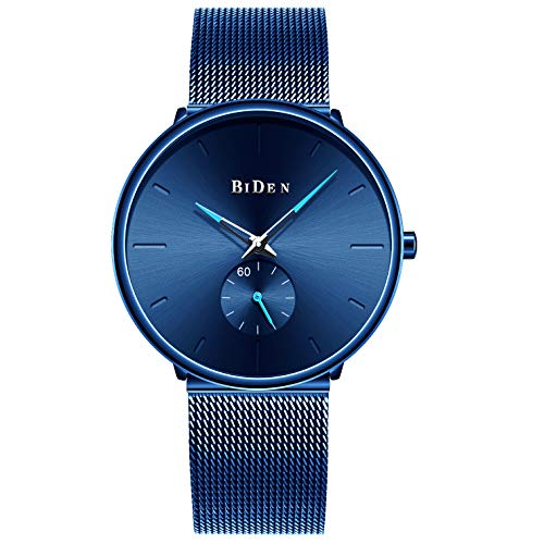 Unisex Blue Minimalist Men's Watches Quartz Analog Fashion Casual Stainless Steel Mesh Band Wristwatch
