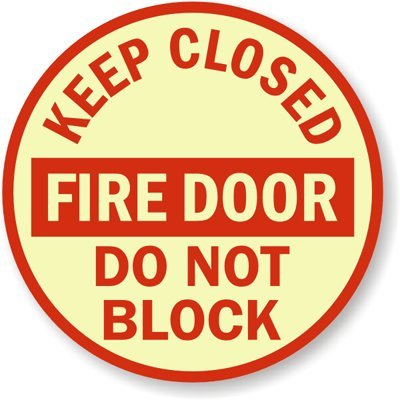 Keep Closed Fire Door Do Not Block Sign, 10'' x 10'' by SimplyExitSigns