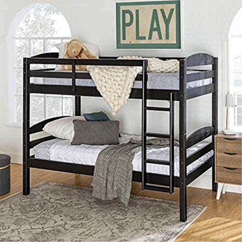 Walker Edison Wood Twin Bunk Kids Bed Bedroom with Guard Rail and Ladder Easy Assembly, Black