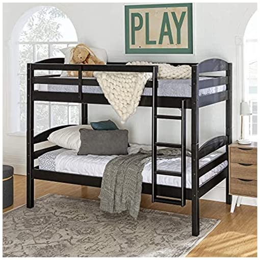 Bedroom Furniture Walker Edison Della Classic Solid Wood Twin over Twin Bunk Bed, Twin over Twin, Black