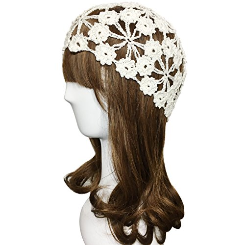 ZORJAR 100% Handmade Linen Plum Blossom Design Crochet Knit Hat Cap For 3 Seasons (M, White)