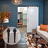 CCJH Classic Steel Heart Style Interior Sliding Barn Door Hardware Wood Door Kit 10FT Black
