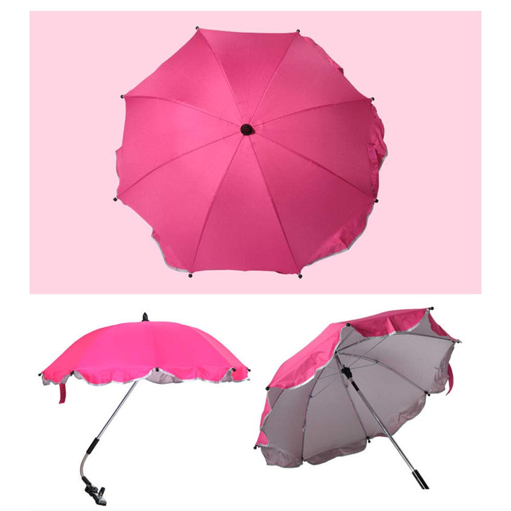 Umbrella Adjustable Baby Wheelchair 27.5'' Universal Windproof Waterproof Sunproof Flexible Baby Parasol for Any Pram Baby Stroller Wheelchair Deck Chair Or Scooter,Rosered