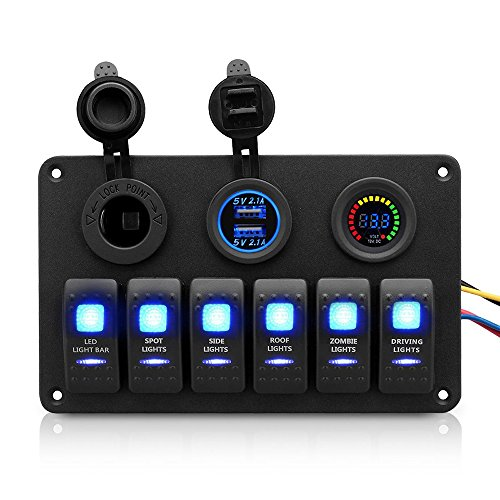 Seamander Waterproof 6 Gang Car Marine Boat Circuit LED Rocker Switch Panel with Fuse+ Digital Voltmeter+ Dual USB Charger+Power Socket (6 Gang)