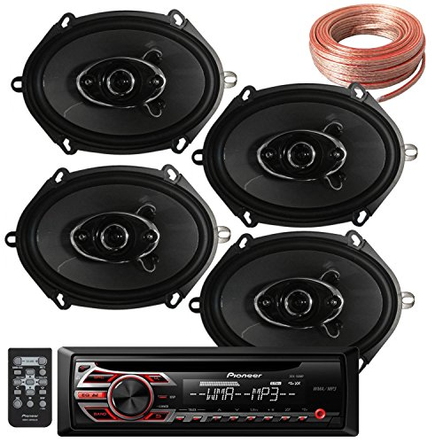 Package Bundle - Pioneer DEH-150MP Single DIN MP3 Car Stereo With 2 Pairs of K684.S 4 6x8 Inchs 6