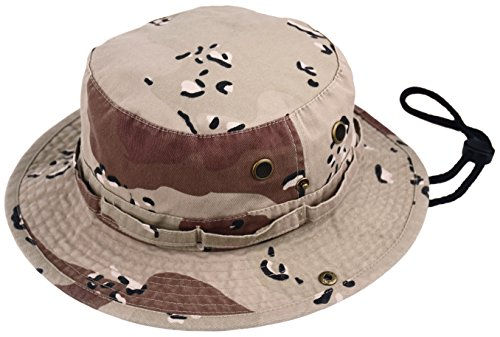 Summer Bucket Cap, Sun Hat with Adjustable Chinstrap, Outdoor Hunting Fishing Safari Boonie Hat (Desert-Camo, Small/Medium)