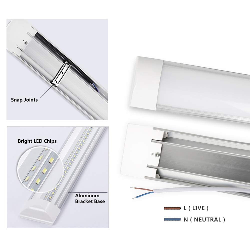 LED Batten Lights Low Profile Wall or Ceiling Surface Mounted for Garage Workshop Office,4Pack Hugging Light Daylight LED Tube Light,LED Shop Light 3FT 30W 2250LM 6500K