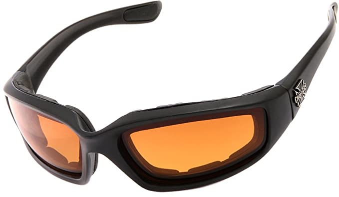 ef30bb998a Chopper Men s Motorcycle Wrap 65mm Amber Lens Sunglasses  Amazon.co ...