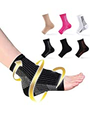 6 Pairs Dr Sock Soothers Socks Anti Fatigue Compression Foot Sleeve For Men & Women, Copper Foot Compression Sleeve For Pain (white*3+black*3, S/M)