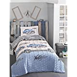 Classic Vintage cars bedding set, 100% Cotton Full/Twin Size Multifunctional Four Season Boys Bedding Set, Quilted Bedspread/Duvet Cover Set, 3 PCS, Blue&White