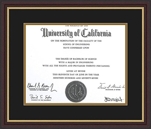ArtToFrames Diploma-726-89/596-0066-83120-Ymah Mahogany and Gold Slope Frame with 1 Opening, 11x14, Mahogany/Gold Slope Frame