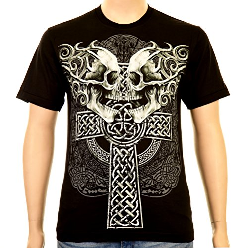 Celtic Cross with Skulls Rock Eagle T-Shirt Glow in the Dark Tribal Skull