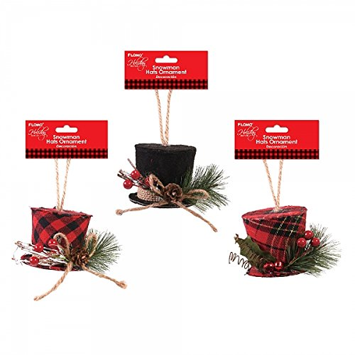Holiday Essentials Plaid Snowman Top Hat Christmas Ornaments
