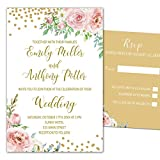100 Wedding Invitations Blush Pink Gold Floral Design + Envelopes + Response Cards Set