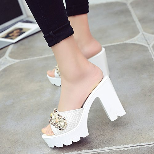 Women'S Slippers And Slip WHLShoes Heeled Soled Casual White Comfort High Sandals Thick With Thick Summer Fashion Sandals Non Muffin dAIIXq