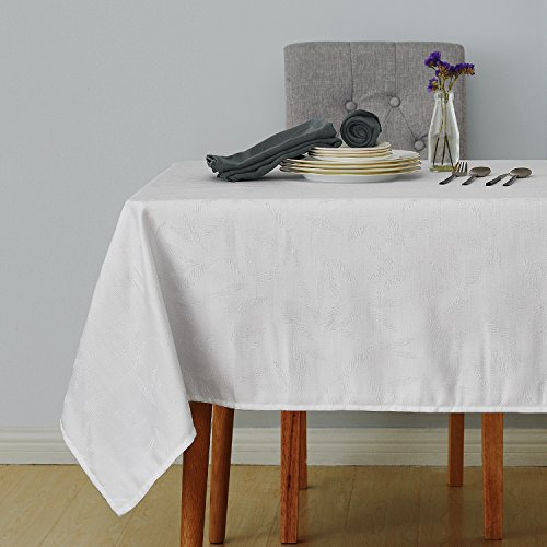 Deconovo Decorative Jacquard Rectangle Tablecloth with Bamboo Leaves Patterns Wrinkle Resistant and Waterproof Tablecloths for Dining Room 60 x 84 inch White