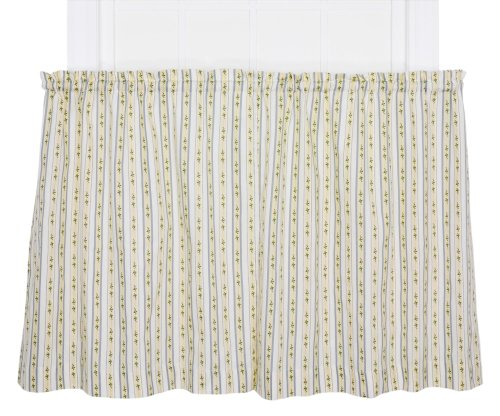 (Ellis Curtain Cynthia Floral Stripe Print Tailored Tier Pair Curtains, 68 by 24-Inch, Blue )
