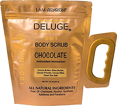 DELUGE - CHOCOLATE BODY SCRUB 100% NATURAL. Firm SkinAnti-Aging Moisturizing. Made with Real Cacao Nibs, Cocoa Powder, COCOA BUTTER, DEAD SEA SALT. PARABEN FREE. Net Weight 10 oz.