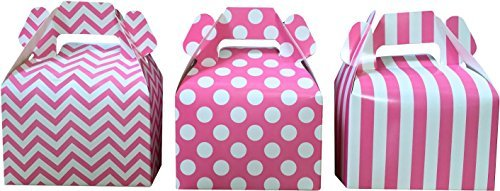 Outside the Box Papers Chevron, Stripe and Polka Dot Paper Gable Favor Boxes 36 Pack Pink, -