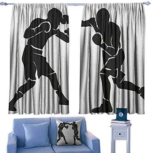Mannwarehouse Sports Decorative CurtainsforLivingRoom Black Silhouettes of Professional Boxers Fighters Combative Exercise Punch Attack 70%-80% Light Shading, 2 Panels,72