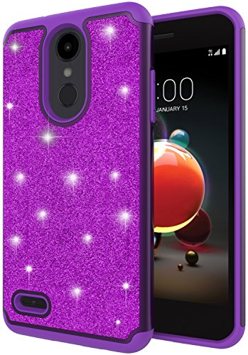 LG Aristo 2 Plus Case, LG Zone 4 Case, LG Tribute Dynasty Case, LG Rebel 3 LTE Case, ANLI Hybrid Dual Layer Drop Protection Fashion Luxury Glitter Bling Design Protective Phone Case Purple