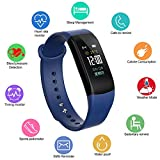 Fitness Activity Tracker with Heart Rate Monitor, Blood Pressure Monitor Smart Bracelet,Water Resistant Pedometer Alarm Sleep Monitor Smart Wristband with Weather Forecast for Men Women(Blue)