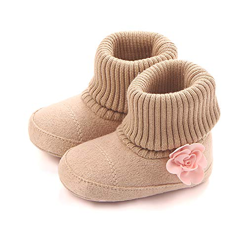 SCOWAY Baby Boys Girls Fleece Non-Skid Booties Newborn Infant Soft Warm Crib Shoes Winter Snow Boots Khaki Flower S ()
