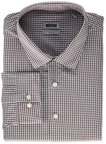 Kenneth Cole Unlisted Men's Dress Shirt Slim Fit Check, Burgundy, 17