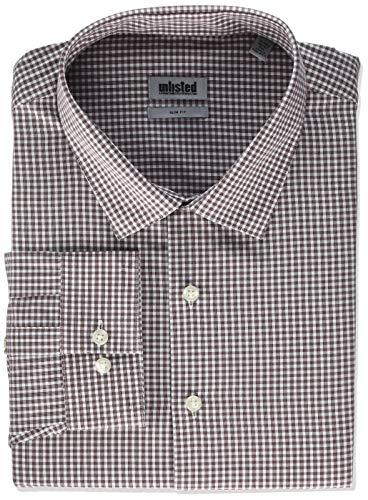 (Kenneth Cole Unlisted Men's Dress Shirt Slim Fit Check, Burgundy, 18
