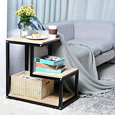 End Table With Storage Shelf 3 Tier Nightstand Multi Purpose Small