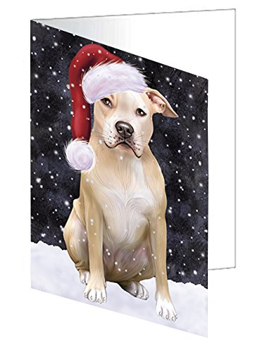 ec6bfc825b4f2 Amazon.com  Let it Snow Christmas Holiday Pit Bull Dog Wearing Santa ...