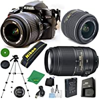 D3200 24.2 MP CMOS Digital SLR, NIKKOR 18-55mm f/3.5-5.6 Auto Focus-S DX VR, AF-S DX NIKKOR 55-300mm f/4.5-5.6G ED VR, Tripod, 6pc Cleaning Set