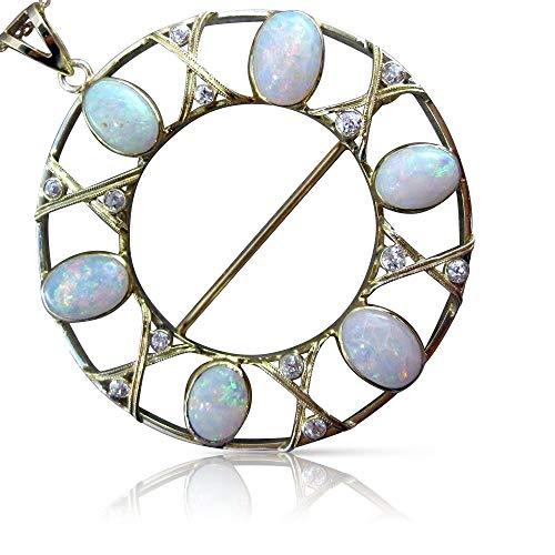 Milano Jewelers Massive 10.72CT Diamond & AAA Opal 14K Yellow Gold Pendant Brooch #25771