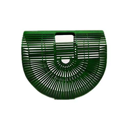 Women Clutch Wooden Purses And Handbags Luxury Designer Hollow Out Summer Beach Bags For Women Casual Bamboo Handbag green small