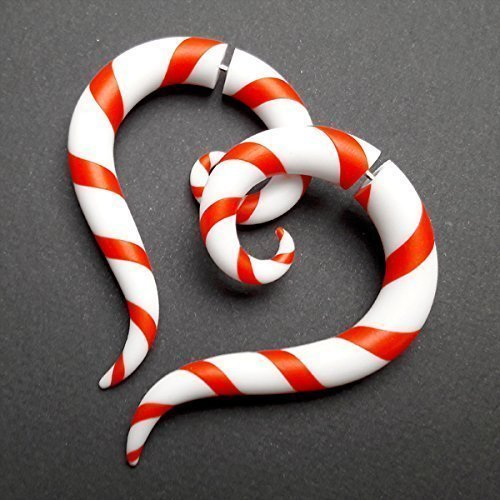 Christmas Candy Earrings Lollipop Earrings Candy Cane Christmas Candy Ear Plugs Fake Gauges Cane Earrings Xmas