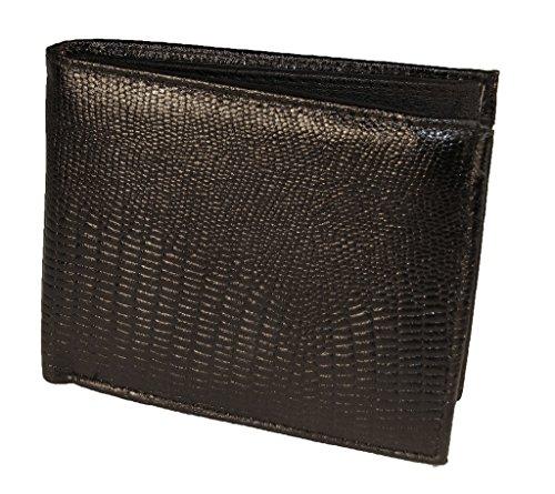 Lizard Embossed Wallet - Duvalini Men's Lizard Embossed Leather Bifold Wallet